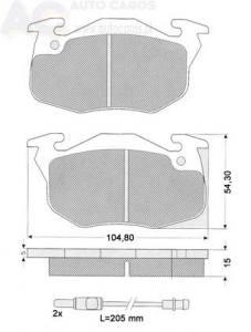 1034-2 TOMEX - KLOCKI HAMULCOWE RENAULT R5 1,4TURBO GT  15MM                 $