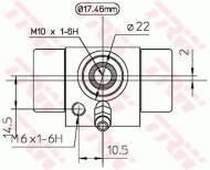 BWC107A TRW - CYLINDEREK HAM.TYLNY 101-608 Ů17.46 /ALUMINIUM/ SYSTEM ATE