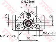 BWD110 TRW - CYLINDEREK HAM. TYLNY ┘19.05