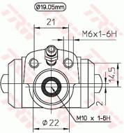 BWD113 TRW - CYLINDEREK HAM.TYLNY 1,6-1,9D/TDI/SDI Ů19.05