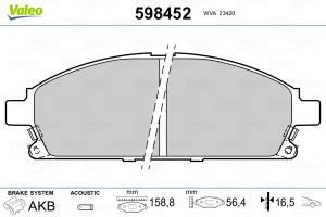 598452 VALEO - KLOCKI HAMULCOWE 3/6/2