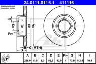 24.0111-0116.1 ATE - TARCZA HAM. OPEL KADETT B,C 67-79