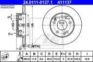 24.0111-0137.1 ATE - TARCZA HAMULC. MERCEDES W201 190  82-93
