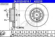 24.0122-0210.1 ATE - TARCZA HAM. VW GOLF V 03-