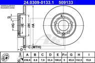 24.0309-0133.1 ATE - TARCZA HAM. POWER DISC VW GOLF IV 98-03 TYŁ 4MOTION