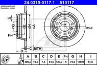 24.0310-0117.1 ATE - TARCZA HAM. POWER DISC BMW 5 E34 88-95 TYŁ