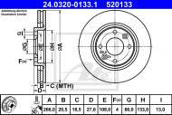24.0320-0133.1 ATE - TARCZA HAM. POWER DISC CITROEN BERLINGO,XSARA PEUGEOT 206