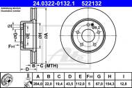 24.0322-0132.1 ATE - TARCZA HAM. POWER DISC MERCEDES W202 C-KLASA 93-00 WENT.