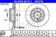 24.0322-0210.1 ATE - TARCZA HAM. POWER DISC VW GOLF V 03-