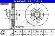 24.0330-0113.1 ATE - TARCZA HAMULCOWA Tarcza HAM.AUDI A4 (B5) (95-01) przód /A
