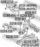 0729-001 FEBEST - ŚRUBA Z MIMOŚRODEM SUZUKI GRAND VITARA/ESCUDO JB416/JB420/JB