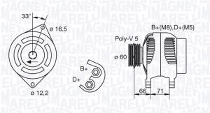 MAN799 MM - ALTERNATOR 75A/12V FIAT SIENA/PALIO 1,6 97->BEZ KLIMY/BRVO BRAVA